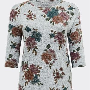 TORRID Gray Floral Top Super Soft Plush